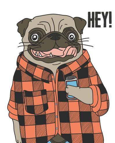 Mão desenhada cão pug legal usando flanela e segurando a ilustração de bebida