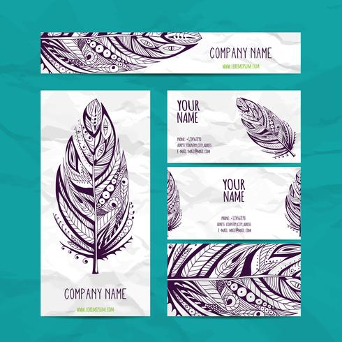 Business Cards and Identity Set in Ethnic Style. Vintage decorative elements.