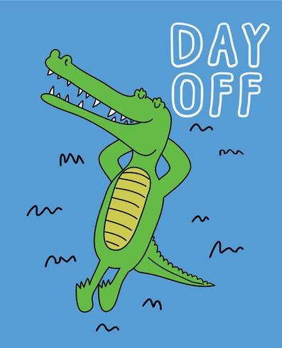 Day Off Crocodile vector
