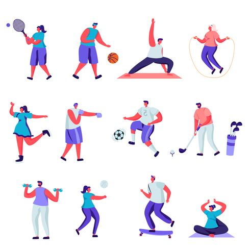 Set of flat people sports activities characters vector