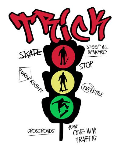 Hand drawn skateboard traffic light