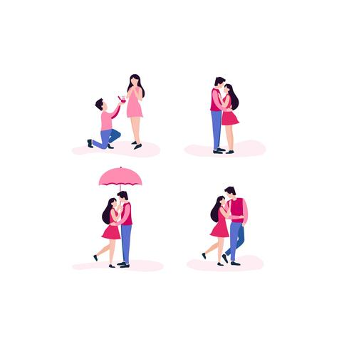 Couple amoureux Poses différentes