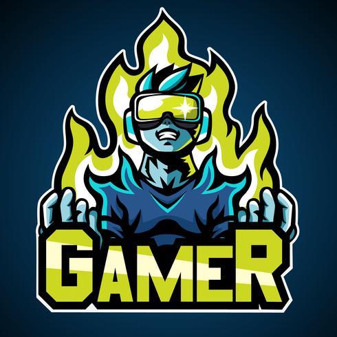 Gamer, logo mascotte, conception d'autocollant