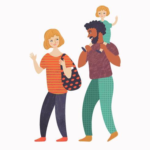 Famille heureuse en promenade
