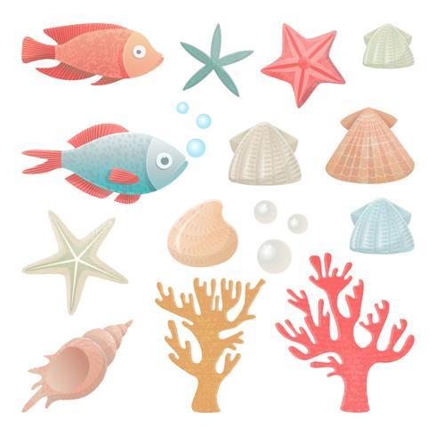 Conjunto de habitantes do mar.