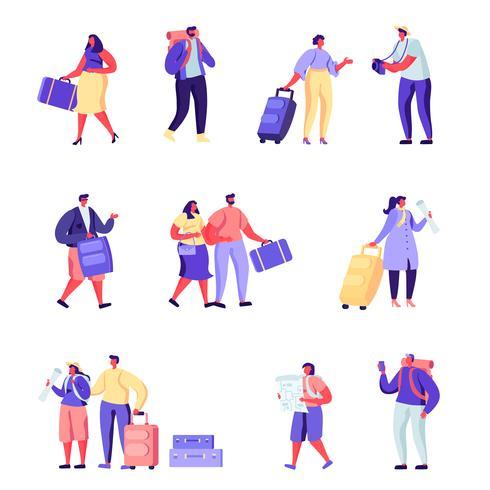 Insieme della famiglia di persone piatte va su personaggi di vacanza