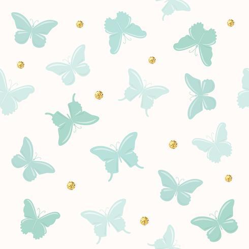 Butterflies with glitter polka dots seamless pattern