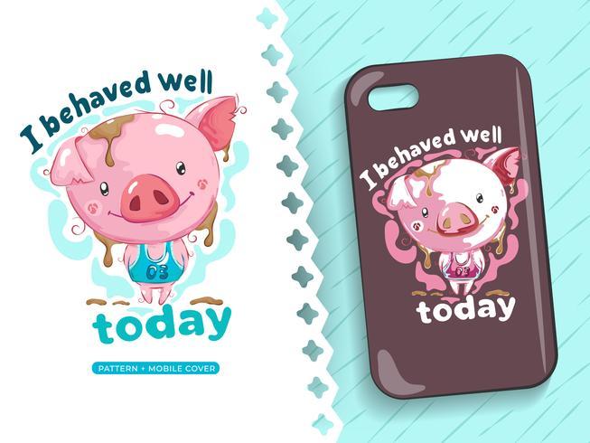 Dessin d'une jolie idée de cochon pour étui de téléphone
