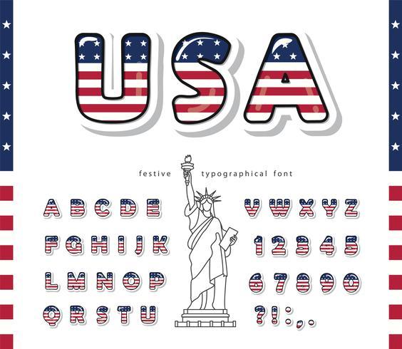 Fuente de dibujos animados de Estados Unidos vector