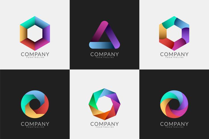 set of abstract modern logos