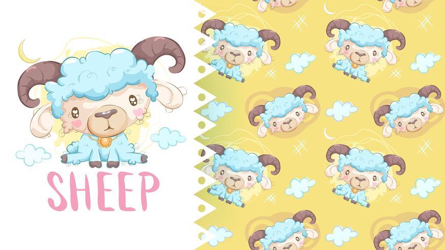 Desenho bonito de ovelhas com plano de fundo padrão