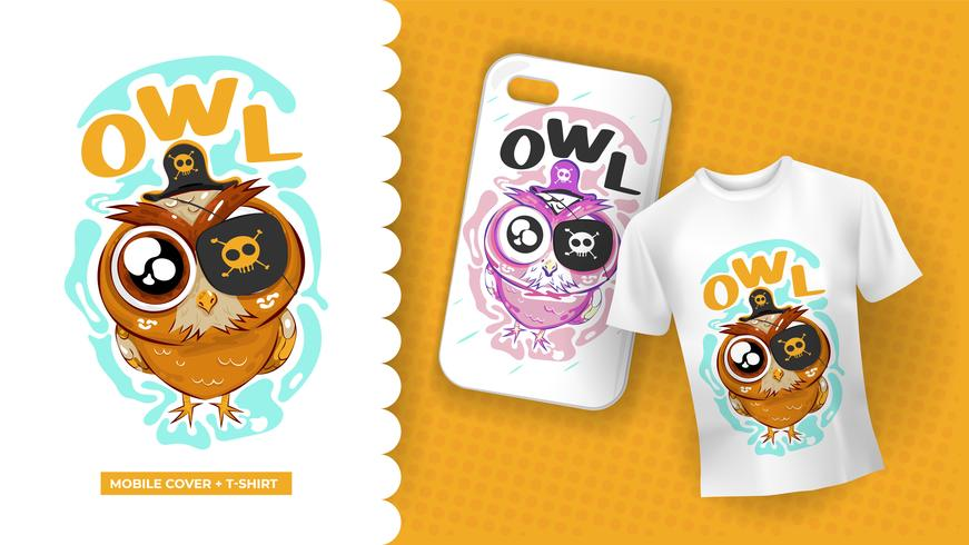 Cute owl drawing with pirate costume