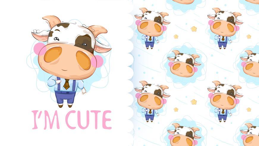 Linda vaca pequeña con patrones sin fisuras