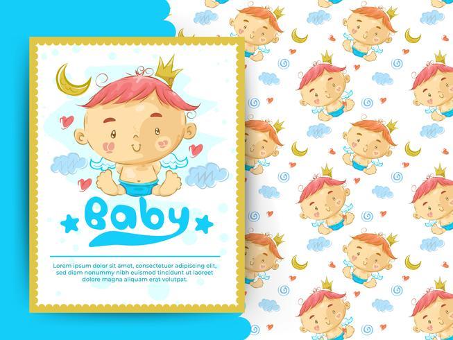 Baby shower-kort med liten pojke