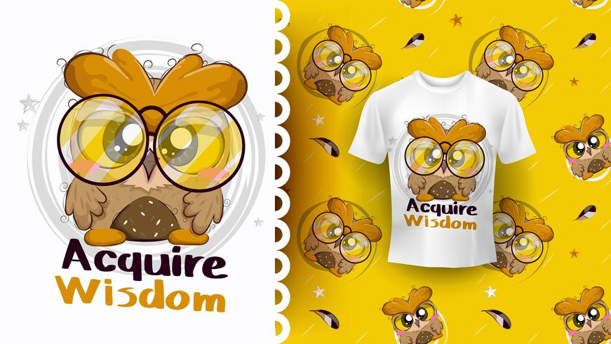 Baby owl cute character with pattern