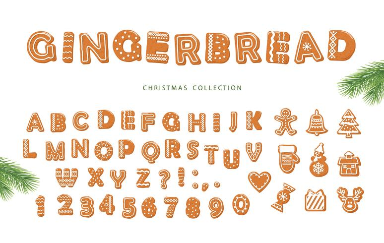 Gingerbread alphabet and different cookies collection