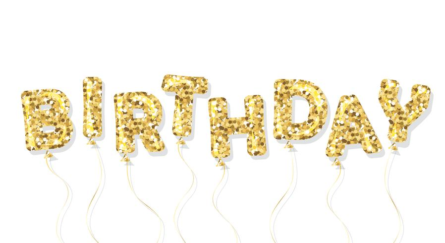 Verjaardag gouden glitter ballon inscriptie