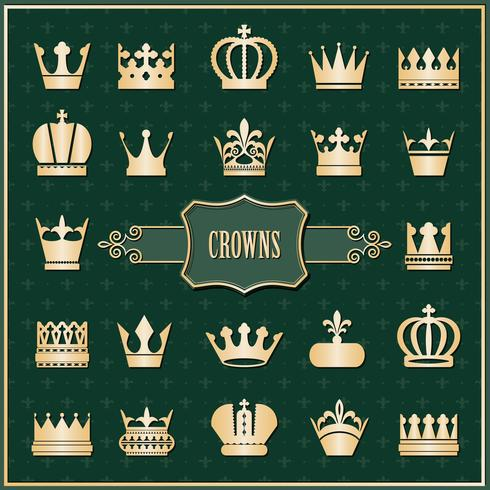 Gold crown icons set on damask