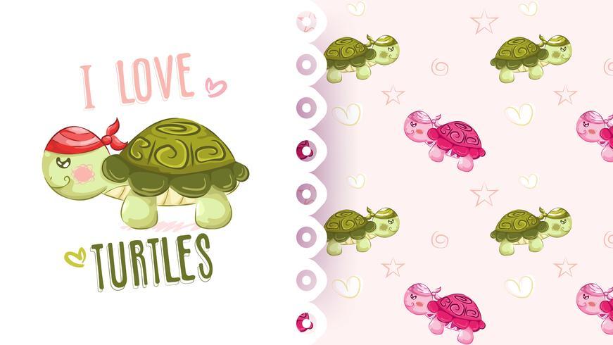 Söt tecknad sköldpadda