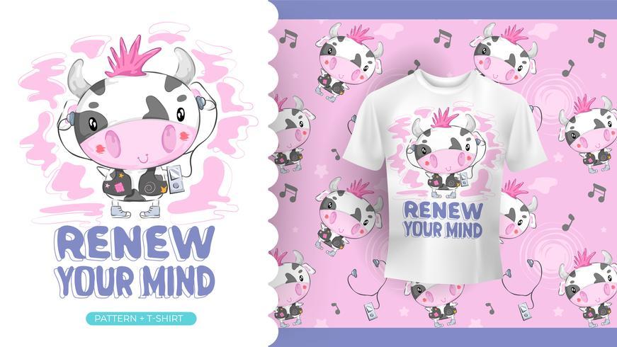Disegno di mucca con cuffie idea perfetta per t-shirt