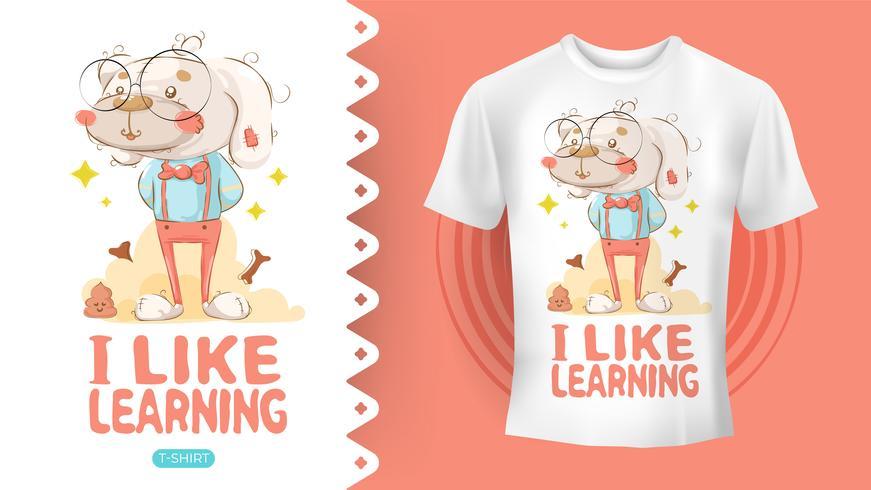 Cane hipster che disegna idea perfetta per la camicia