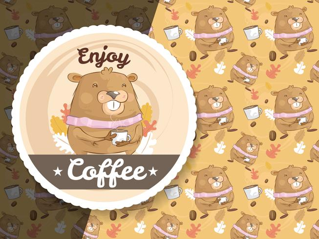 Cute marmot character with coffee