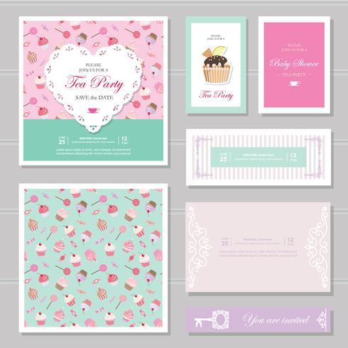 Modelos de cartão bonito definido em tons pastel.