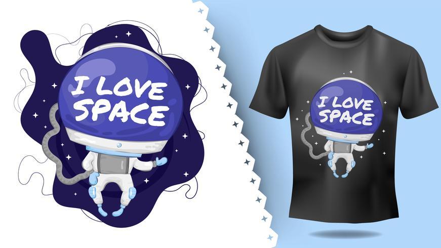 Idea di personaggio astronauta disegnato a mano adorabile per t-shirt stampata