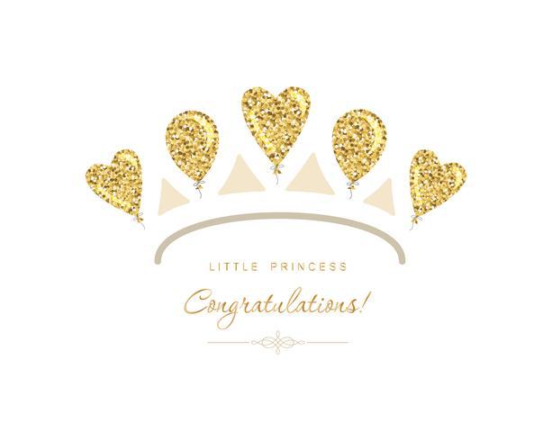 Icono de tiara dorada hecha de globos de brillo vector