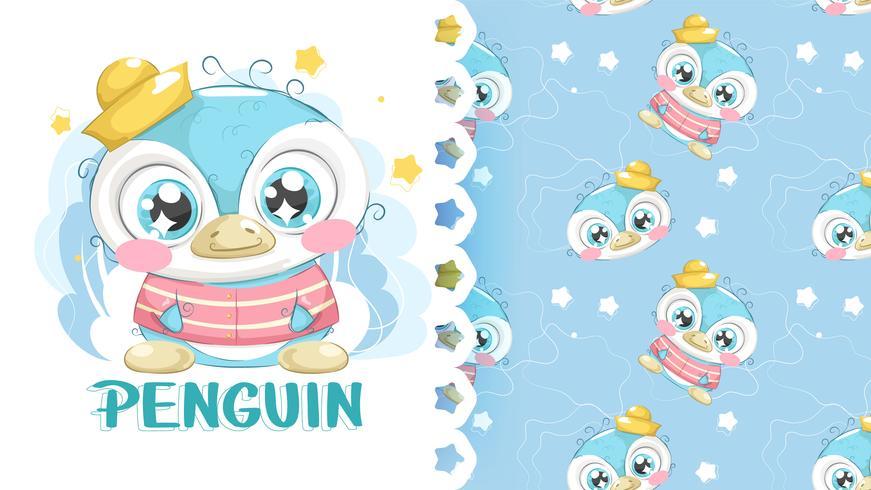 Pingouin mignon dessin avec fond de motifs