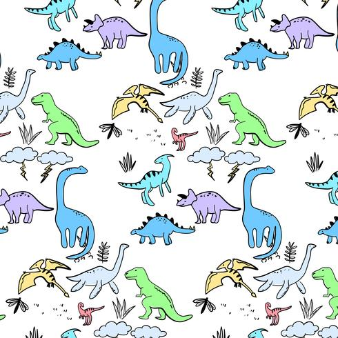 Hand drawn active dinosaurs pattern