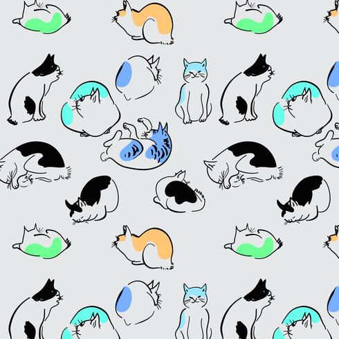 Hand drawn delicate outline cats rolling and sleeping pattern
