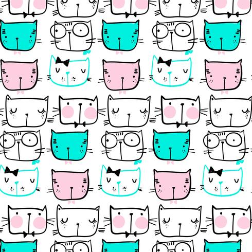 Hand drawn black line cat faces pattern