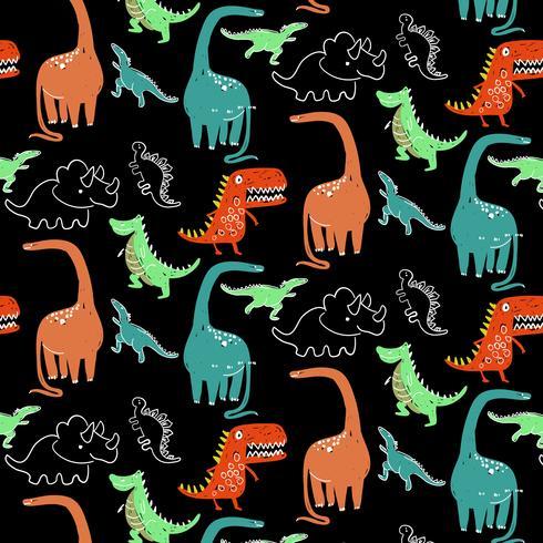 Padrão de dinossauro brilhante mão desenhada dos desenhos animados