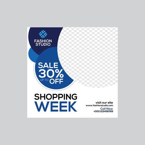 Banner de anúncios da web da venda da semana de compras