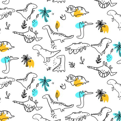 Hand drawn black outline baby dinosaurs pattern