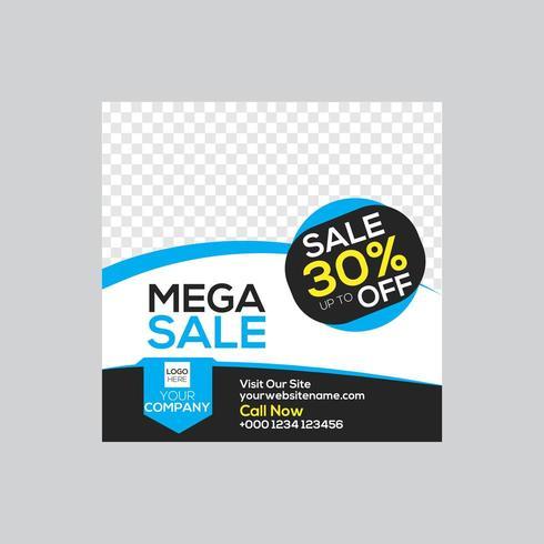 Mega Sale Cyan Color Vector Design