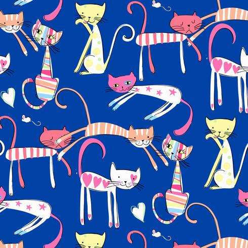 Hand drawn colorful happy cats pattern
