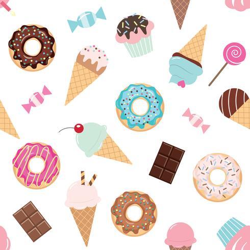 Cumpleaños de patrones sin fisuras con dulces. vector