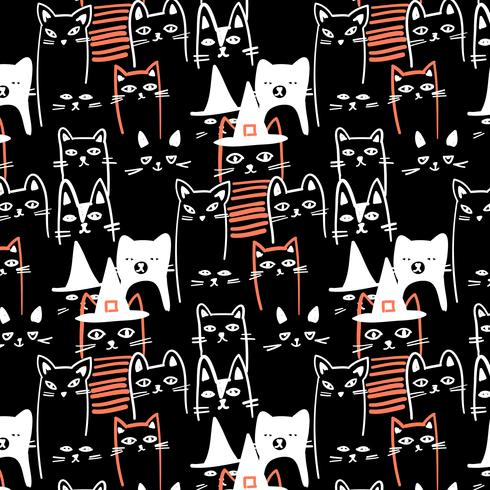 Hand drawn white outline halloween black cats pattern