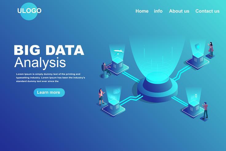 Concepto de página de aterrizaje de Big Data vector