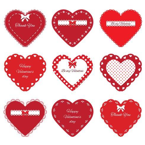 Set de corazones decorativos recortados vector