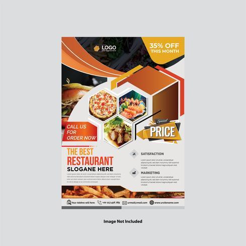 Abstrakt färgrik restaurangreklambladdesign