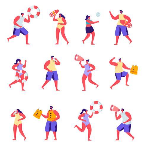 Conjunto de socorristas de personas planas en los personajes de playa vector