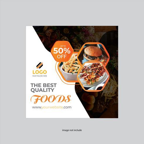 design volantino quadrato ristorante di colore giallo