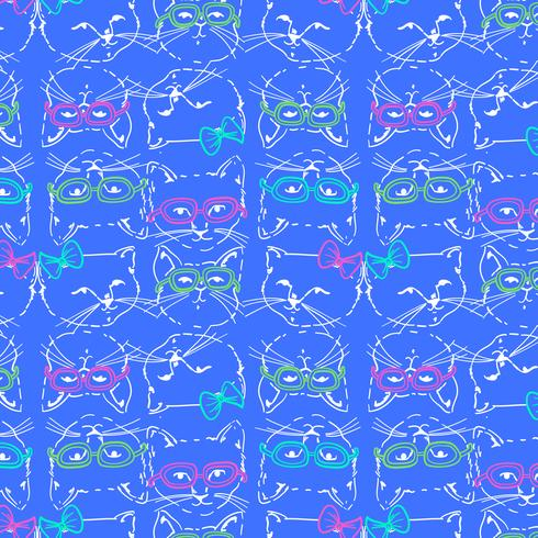 Hand drawn cool cat faces with glasses pattern