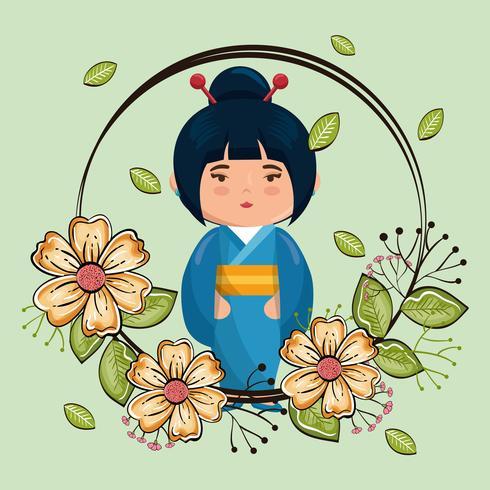 Kimono girl kawaii with flowers character