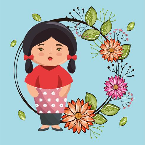 Asian girl kawaii with flowers character