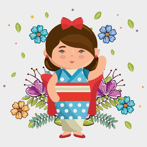 fille japonaise kawaii avec caractère de fleurs