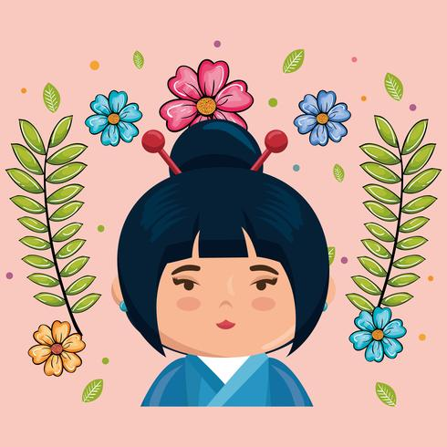 Pink little japanese girl kawaii with flowers character